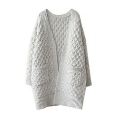 Light Gray V-neck Cable Knit Pocket Chunky Cardigan ($37) ❤ liked on Polyvore featuring tops, cardigans, chunky cable knit cardigan, chunky cable cardigan, light grey top, henley tops and cable knit cardigan