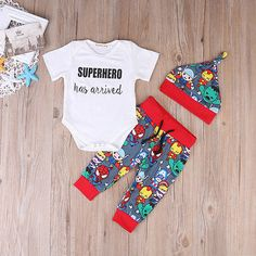 >> Click to Buy << 3pcs Baby Set Cartoon Baby Boys Outfits Summer Short Sleeve White Letter Cotton Romper Jumpusit+Print Pants+Hat Baby Clothes Set #Affiliate