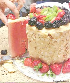 Fresh fruit cake with coconut butter and almonds as the frosting.   The best part? It's SO easy!!