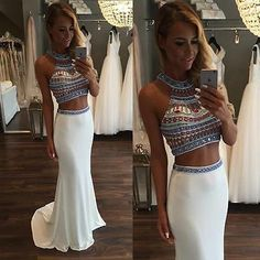 Hot Sale Sexy Two Pieces Long Evening Gowns Custom Made Beading Satin Mermaid Prom Dresses 2017 Prom Dresses 2017, Prom Party Dresses, Ball Dresses, Dress Prom, Dresses Uk, Prom Gowns Elegant, Formal Gowns, Dress Formal, Two Piece Evening Dresses