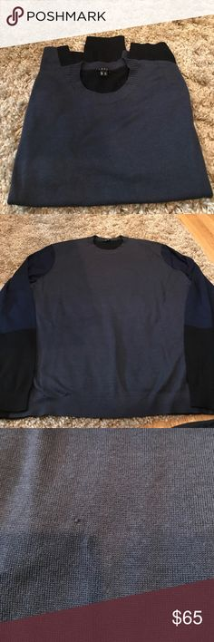 """Men's Theory Lightweight Sweater Beautiful colors the front is gray the back is Black the sleeves go from blue to black . One mark in front shown in pictures. 98% merino wool 2% spandex  length is 26""""  across is 21"""" Theory  Sweaters Crewneck"""