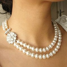 Pearl Wedding Necklace, Bridal Jewelry, Vintage Style Wedding Jewelry, Rhinestone Bridal Jewelry, ELIZABETH
