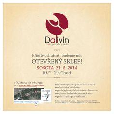 Přijďte ochutnat, budeme mít OTEVŘENÝ SKLEP!  Rádi bychom vás pozvali na Den otevřených sklepů našeho rodinného vinařství Dalivin, který se koná v sobotu 21. 6. 2014 (10.00-20.00h) ve Chvalovicích u Znojma.  Těšíme se na setkání u pohárku našeho vína!