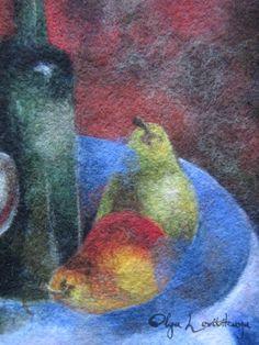 Felted wool painting Still Life with Pears, 36x42 cm, fragment - by Olga Levitskaya.