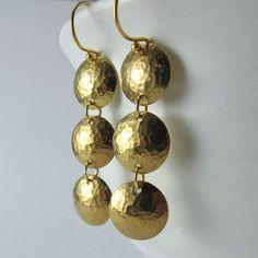 Sunlit Trio Earrings  Bright Hammered Domed by alisonkelleydesigns, $30.00