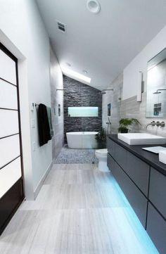 salle de bains grise, une salle de bains cosy et belle