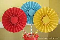 "3- 6"" Circus/Carnival Rosettes Centerpieces -Paper Fans - Circus Birthday Party Decor - Paper Rosettes  - Candy Buffet Decorations"