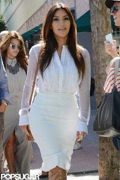 Miami Heat: Kim Kardashian wore an all white ensemble leaving an appointment in Miami on Monday.