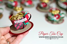 Paper Tea Cup Tutorial my swaps for Stampin' Up! Convention Telford 2016 UK Independent Stampin' Up! Candy Crafts, 3d Paper Crafts, New Crafts, Paper Gifts, Paper Crafting, Paper Tea Cups, Paper Packaging, Box Packaging, Packaging Design