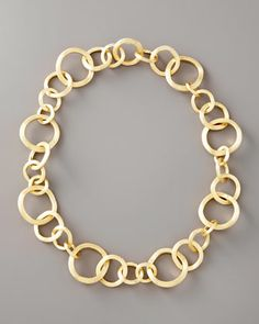 Marco Bicego Jaipur Gold Link Necklace - Neiman Marcus brushed 18 karat yellow gold
