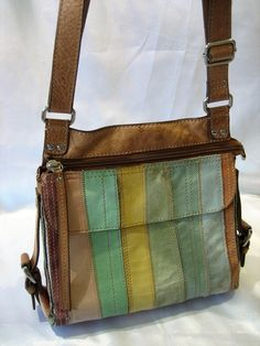 Vintage Lucky Brand Multi Color Stripe Leather Organizer Crossbody Purse Handbag by CLASSYBAG on Etsy