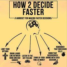 How to decide faster. - How to decide faster. Thinking Skills, Critical Thinking, Self Development, Personal Development, Leadership Development, Professional Development, Life Skills, Life Lessons, Guter Rat