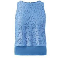 Blue Corded Lace Double Layer Shell Top