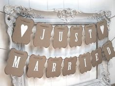 Just married banner, Just married and Reception decorations on ...