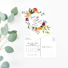Printable Save The Date - Watercolor Floral Wedding Save The Date Card - Calligraphy Wedding Postcard - Burgundy Wedding Boho Maroon Set PDF by OnionSisterCreative on Etsy Wedding Postcard, Wedding Menu, Wedding Stationary, Save The Date Postcards, Save The Date Cards, Printable Wedding Invitations, Printable Cards, Floral Wedding Save The Dates, Diy Wedding Inspiration