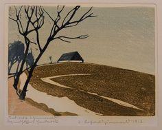 """Tauwetter in Zinnwald"" - wood cut 1917 - Erich Buchwald-Zinnwald Art And Illustration, Illustrations And Posters, Botanical Illustration, Linocut Prints, Art Prints, Block Prints, Landscape Art, Landscape Paintings, Painting Corner"
