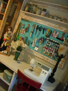 Wood Framed Pegboard - Craft - Art Supply Storage - Sewing Room Organizing. $250.00, via Etsy.