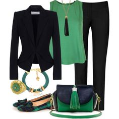 """Green & Black"" by sandeek00 on Polyvore"