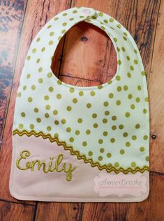 Personalized Bib  Monogrammed Baby Bib  Pink and by AnnieBrookeEmb