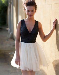effortless an cute!  Lipsy V I P V Beaded Detail Bow Prom Dress