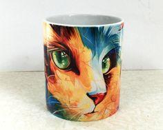 Cat Coffe Mug, Ceramic mugs, Tea mugs, Cat Mug, Unique mug, Home gift, New Year present by Naushadarts on Etsy