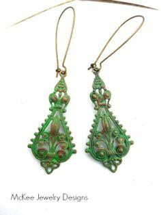 Green and pink patina and brass filigree teardrop boho earrings, dangle,Bohemian jewelry, McKee Jewelry Designs