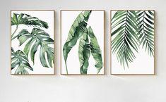 Set of 3 Watercolor Plant Green Leaves Painting Art Print Botanical Nature Art .