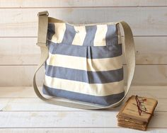 Water Proof -Cross body bag / Diaper bag STOCKHOLM Gray and Ecru Stripes Pleated French Messenger bag - 8 Pockets - You can never have too many pockets!