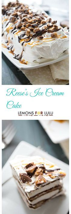 """You are going to love this quick, no fuss dessert! Ice cream sandwiches form the """"cake"""" layer in this ice cream cake recipe, while Reese's Peanut Butter Cups, peanut butter, caramel and chocolate sauce make a truly decadent filling! lemonsforlulu.com"""
