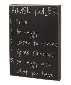 Take a look at this 'House Rules' Box Sign on zulily today!