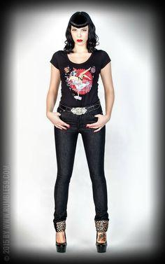 Rumble59 Ladies Denim Black Marilyn`s Curves Slim Fit   Lipstick & Gearstick