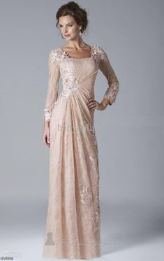 A-Line/Princess Square Long Sleeves Applique Floor-length Tulle Mother of  the Bride Dresses - Mother of the Bride Dresses 2015 - Mother of the Bride  Dresses