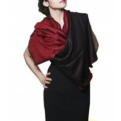 Trendy reversible designer stole. Soft cashmere blend stole fashion in red and black by Insiyah creations at dvibgyor.com #cashmere #stoles #stolefashion #red #black #designer #dvibgyor