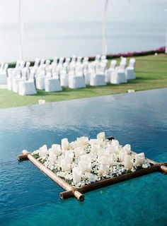 pool reception decor floating candles
