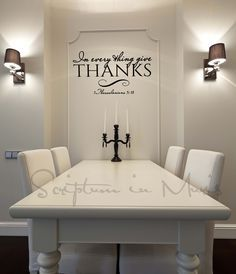 In Every Thing Give Thanks Dining Room Or Kitchen Vinyl Decal Christian Wall Bible