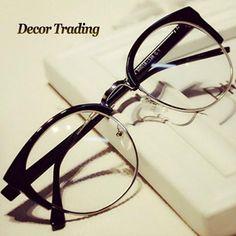 Fashion Cat Eye Half Metal Frame Glasses For Women/Men Retro Vintage Unisex Glasses Big Frame Slim Face Eyewear Glasses 29417 - On Trends Avenue