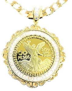 50 pesos Centenario Mexican coin pendant/Dije Gold Plated with Cuban Link chain . Coin Jewelry, Coin Pendant, Pocket Watch, Chain, Gold, Accessories, Amazon, Products, Tactical Guns