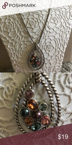 Brighton necklace Like new, worn a few times in perfect condition.has crystals of pink , teal, copper color and slate blue. Brighton Jewelry Necklaces