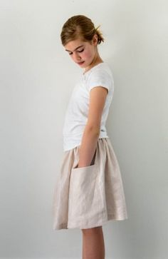 Gathered Skirt for All Ages in Mineral Linen | Purl Soho - Free pattern
