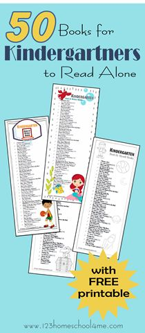 50+ Books Kindergartners Can Read Themselves...Looking for a list of great books for your Kindergartner to read, here is a wonderful list of books for Kindergarten kids to read themselves. Just print the kid friendly library book list to take with you to the library.