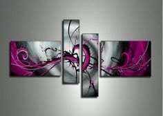 Abstract Art, Black and Purple Canvas Wall Art, Abstract Painting, Modern Wall Art, Acrylic Art, 4 Piece Wall Art
