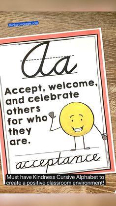 Alphabet Poster, Cursive Alphabet, Classroom Organization, Classroom Management, Classroom Setup, Teaching Writing, Teaching Resources, Daring Quotes, Motivational Bulletin Boards
