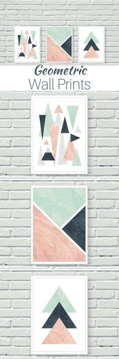Geometric Wall Art - Set of 3 #BedroomDecor #WallDecor #LivingRoomDecor #BedroomIdeas #ColorPalette #Aff