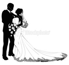 Bride and groom silhouette. A bride and groom on their wedding day about to kiss in silhouette. Bride And Groom Silhouette, Couple Silhouette, Silhouette Vector, Wedding Silhouette, Silhouette Design, Wedding Cross, Dream Wedding, Wedding Day, Molduras Vintage