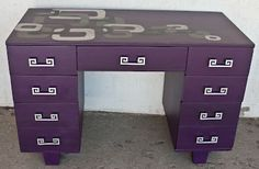 Painted purple desk and shabby chic