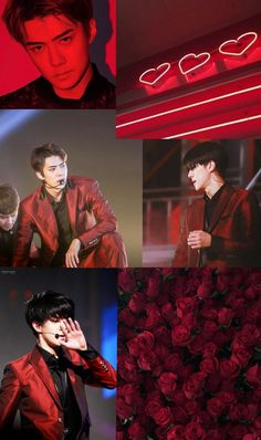 #sehun #exo #aesthetic #background #lockscreen #red Aesthetic Backgrounds, Aesthetic Wallpapers, Exo Lockscreen, Red Aesthetic, Chanyeol, Kpop, Bb, Life, Wall Papers
