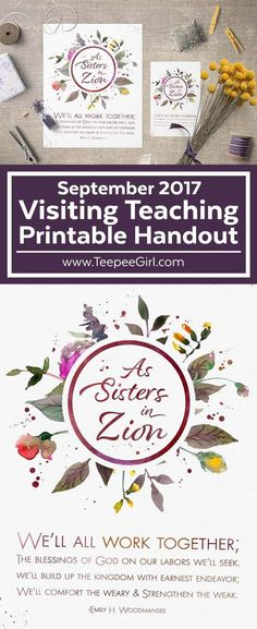 September 2017 Visiting Teaching Printable from Teepee Girl Visiting Teaching Message, Visiting Teaching Handouts, Teaching Ideas, Teaching Activities, Therapy Activities, Ministering Lds, Lds Faith, Lds Church, Church Ideas
