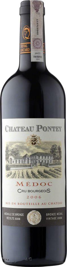 Chateau Pontey Medoc A.O.C Bogate, gęste wino z wyczuwalnymi dębowymi nutami. Obecność tanin jest mocno zaznaczona, podobnie jak solidna dawka owoców. Brązowy Medal dla tego wina został przyznany w kategorii Concours des Grands Vins de France in Mâcon/France. #Wino #Bordeaux #Winezja #Chateau #Pontey #Medoc