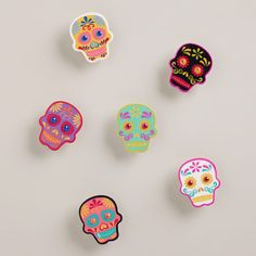 Day of the Dead Wood Clips, Set of 6