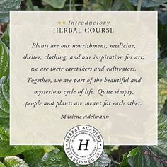 Plants are our nourishment, medicine, shelter, clothing, and our inspiration for art; we are their caretakers and cultivators. Together, we are part of the beautiful and mysterious cycle of life. Quite simply, people and plants are meant for each other. - Director Marlene Adelmann (from the Online Introductory Herbal Course):